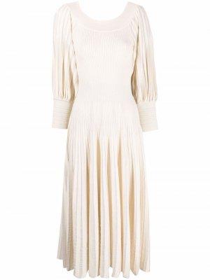 Платье миди в рубчик Antonino Valenti. Цвет: нейтральные цвета