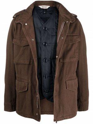 Куртка в стиле милитари на молнии Aspesi. Цвет: коричневый
