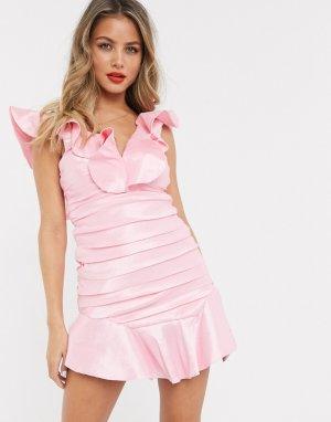 Розовое платье мини со сборками -Розовый Bardot