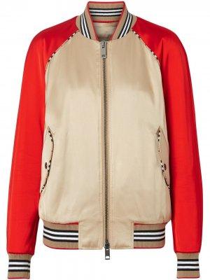 Куртка-бомбер с отделкой Icon Stripe Burberry. Цвет: коричневый