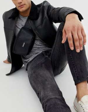 Черная сумка-кошелек на пояс French Connection. Цвет: черный