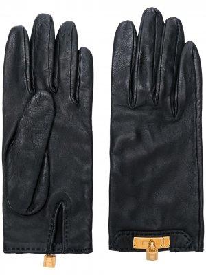 Перчатки с металлическим декором Hermès. Цвет: черный
