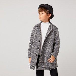 Однобортное пальто в клетку для мальчиков SHEIN. Цвет: серые