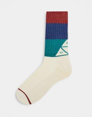 Кремовые носки с разноцветными полосками -Кремовый HUF