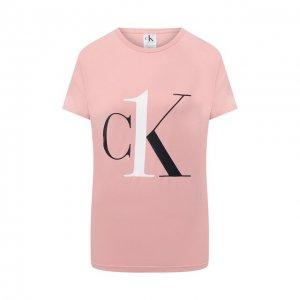 Хлопковая футболка Calvin Klein. Цвет: розовый