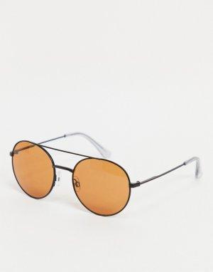 Солнцезащитные очки-авиаторы в черной оправе с оранжевыми стеклами -Черный Jack & Jones