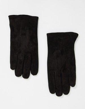 Черные замшевые перчатки -Черный цвет ASOS DESIGN