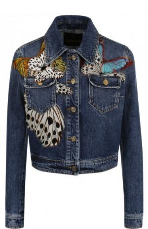 Укороченная джинсовая куртка с контрастной отделкой Roberto Cavalli. Цвет: синий