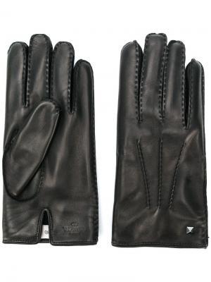 Перчатки с заклепками Valentino. Цвет: черный