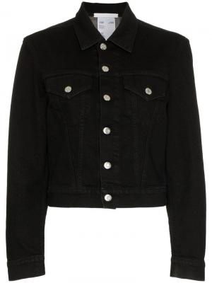 Укороченная джинсовая куртка Helmut Lang. Цвет: черный