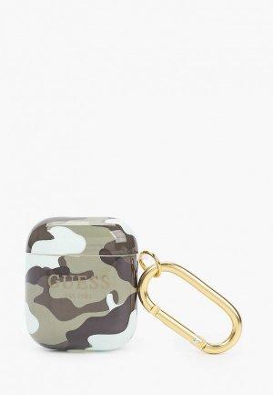 Чехол для наушников Guess Airpods 1/2, TPU with carabin Camouflage Green. Цвет: хаки