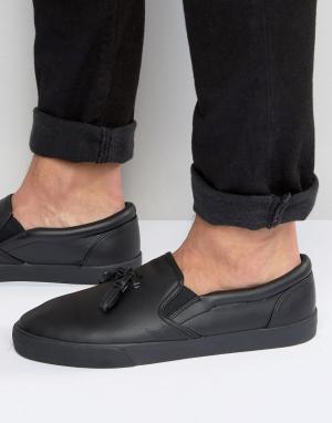 Черные кеды-слипоны с кисточками ASOS. Цвет: черный