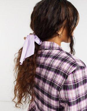 Сиреневая атласная резинка для волос с бантом Samara-Фиолетовый Monki