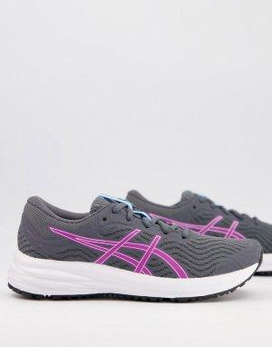 Серые кроссовки с фиолетовой отделкой Running Patriot 12-Серый Asics