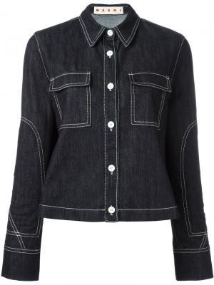 Джинсовая куртка с контрастной строчкой Marni. Цвет: синий