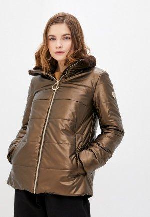Куртка кожаная Madzerini. Цвет: коричневый