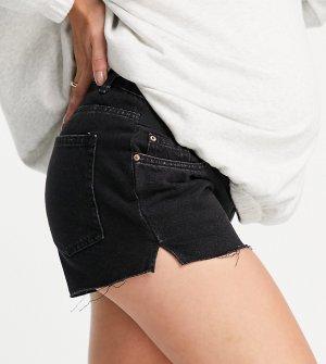 Черные джинсовые шорты с эластичным поясом под животиком -Черный цвет New Look Maternity