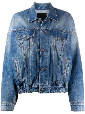 Джинсовая куртка с эффектом потертости R13. Цвет: синий