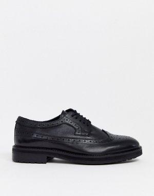 Черные кожаные броги на массивной подошве -Черный цвет ASOS DESIGN
