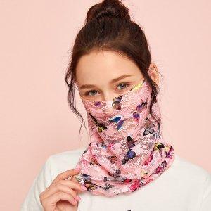 Защита от солнца для лица с узором SHEIN. Цвет: розовые