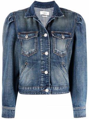 Укороченная джинсовая куртка с эффектом потертости Isabel Marant Étoile. Цвет: синий