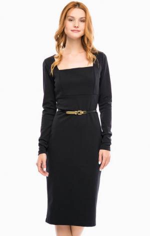 Черное приталенное платье с разрезом сзади и ремнем MICHAEL Kors. Цвет: черный