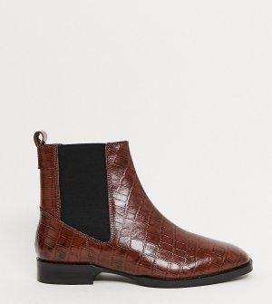 Коричневые ботинки челси для широкой стопы -Коричневый ASOS DESIGN