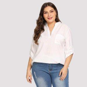Большая простая блуза с кривой подол SHEIN. Цвет: белые
