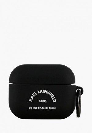 Чехол для наушников Karl Lagerfeld Airpods Pro, Silicone case with ring RSG logo Black. Цвет: черный