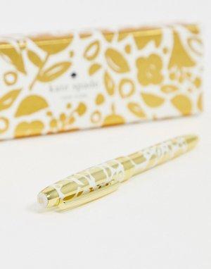 Шариковая ручка и пенал с цветочным принтом -Золотой Kate Spade