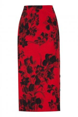 Красная юбка из шерсти с цветочным принтом Balenciaga. Цвет: красный