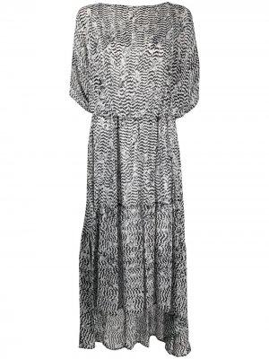 Расклешенное платье макси с анималистичным принтом 8pm. Цвет: белый