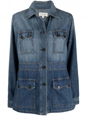 Джинсовая куртка с эффектом потертости Nili Lotan. Цвет: синий