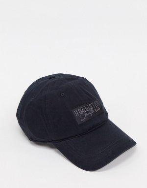 Черная бейсбольная кепка с однотонным логотипом -Черный Hollister
