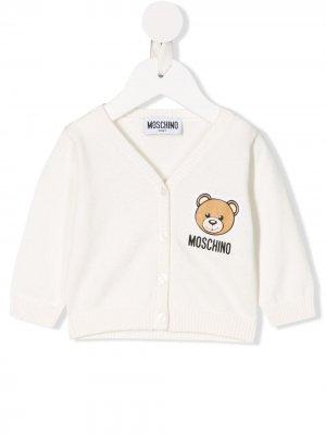 Кардиган с длинными рукавами и логотипом Moschino Kids. Цвет: белый