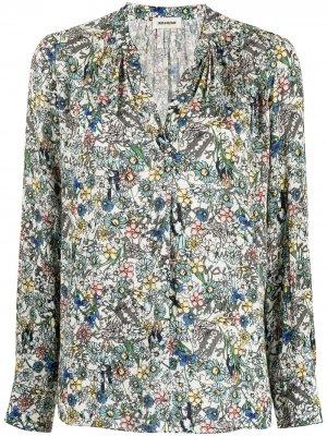 Рубашка Tink с жатым эффектом и цветочным принтом Zadig&Voltaire. Цвет: разноцветный