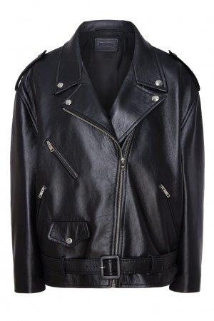 Черная кожаная куртка Prada. Цвет: черный