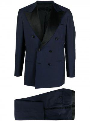 Вечерний костюм с двубортным пиджаком Kiton. Цвет: синий