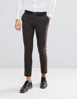 Облегающие брюки из твида в елочку Jack & Jones. Цвет: коричневый