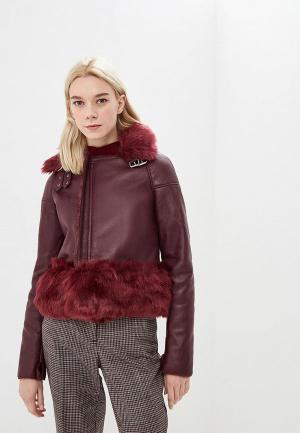 Куртка кожаная Elsi. Цвет: бордовый