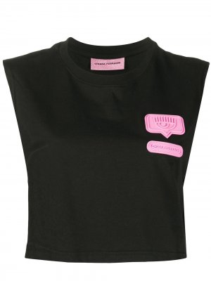 Укороченная футболка с нашивкой Chiara Ferragni. Цвет: черный