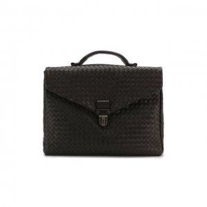 Кожаный портфель Bottega Veneta. Цвет: коричневый