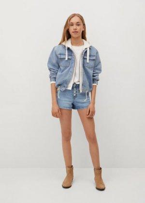 Джинсовые шорты с пуговицами - Rose Mango. Цвет: светло-синий