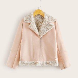 Замшевая байкерская куртка с молнией и плюшевой вставкой для девочек SHEIN. Цвет: розовые