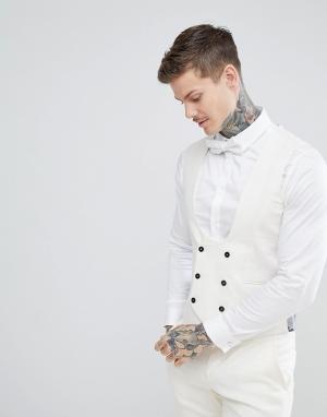 Кремовый жилет с добавлением льна приталенного кроя Wedding Twisted Tailor