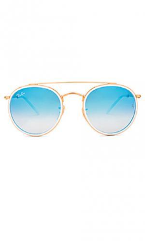 Солнцезащитные очки round double bridge Ray-Ban. Цвет: металлический золотой