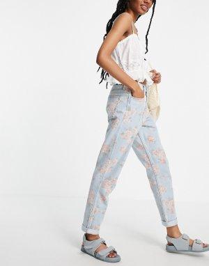 Светлые выбеленные джинсы с принтом розами -Розовый цвет Hollister