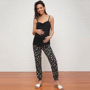 Пижама для беременных с цветочным принтом SHEIN. Цвет: чёрный