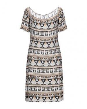 Короткое платье DOMANI. Цвет: бежевый