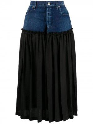 Ys джинсовая юбка с плиссировкой Y's. Цвет: синий